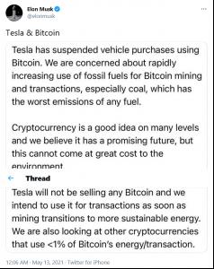 Elon Musk rezygnuje z Bitcoinów